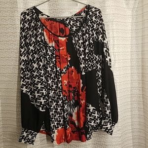Alfani pleated front flowy blouse